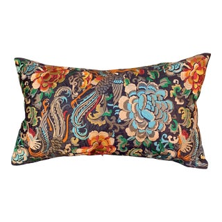 Hollywood Regency Black & Gold Silk Embroidered Floral Chinoiserie Boudoir Lumbar Pillow For Sale
