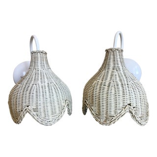 Wicker Tulip Sconces - a Pair