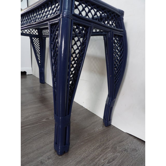 Vintage Navy Lacquer Finish Bamboo Rattan Glass Topped Console Table For Sale In West Palm - Image 6 of 7