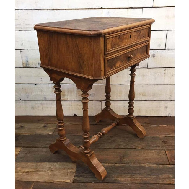 Antique French Vanity Armoire Desk, Burl Wood & Walnut - Image 8 of 10
