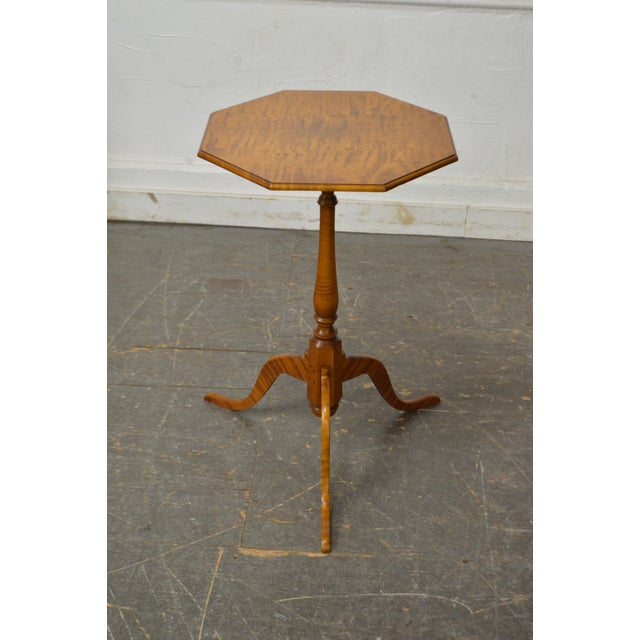 Eldred Wheeler Tiger Maple Snake Foot Candle Stand For Sale - Image 10 of 10