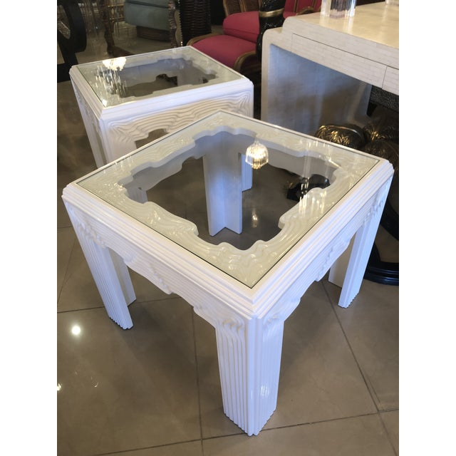 Vintage Modern White Lacquered Wavy End Side Tables -A Pair For Sale - Image 11 of 13