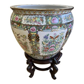 Antique Hand Painted Rose Medallion Porcelain Bowl + Wood Stand For Sale