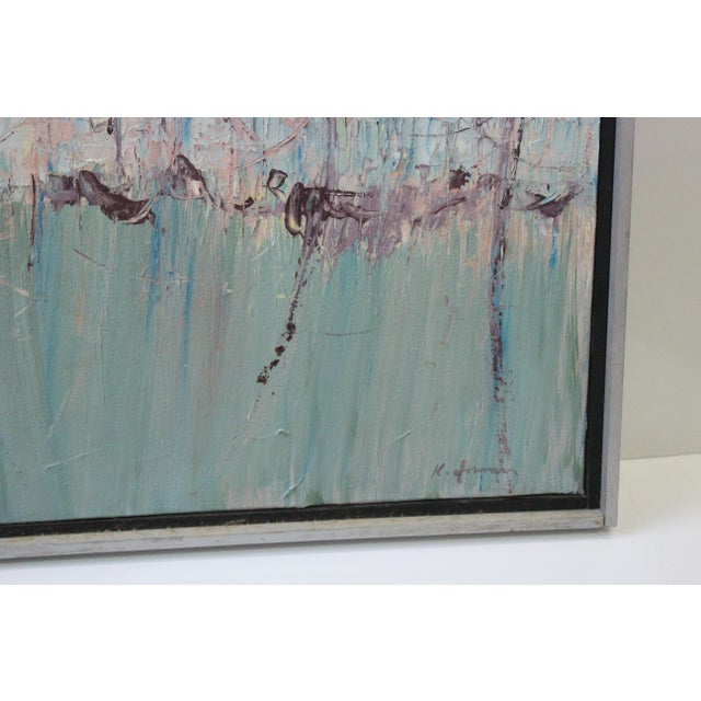 Vintage Mid-Century Kenneth Forman Holland Harbor Abstract Painting For Sale In New York - Image 6 of 8
