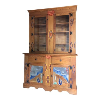 Custom-Designed Southwestern China Cabinet Buffet For Sale