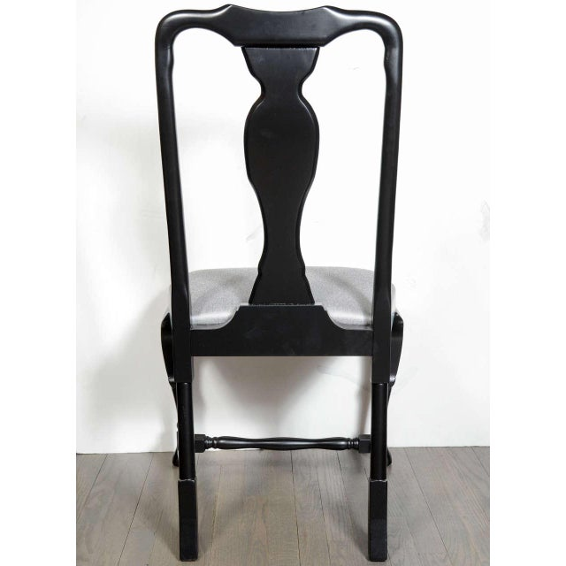 Black Set of Mid-Century Dining Chairs with Cabriole Detailing by Jansen For Sale - Image 8 of 9