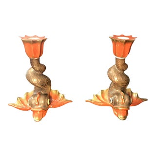 Herend Koi Fish Dolphin Candlesticks - A Pair For Sale