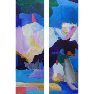 "2 Piece Abstract Landscape Painting | Valerie Erichsen Thomson Original | ""Isthmus"" | Diptych For Sale"