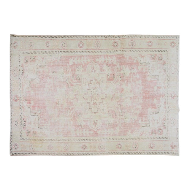 """Vintage Turkish Anatolian Oushak Hand Knotted Organic Wool Fine Weave Rug,6'7""""x9' For Sale"""
