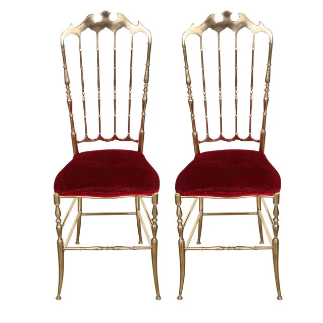 Pair of Brass Chairs by Chiavari Italy For Sale - Image 11 of 11