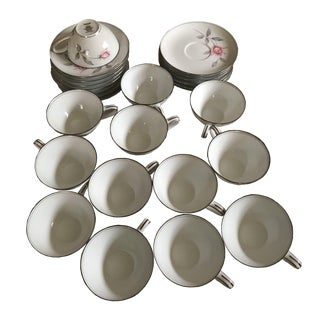 Vintage Pattern: Rosemarie by Noritake # 6044, Roses, Gray Leaves, Coupe, Teacups & Saucers, Price Is Firm - 26 Pieces For Sale