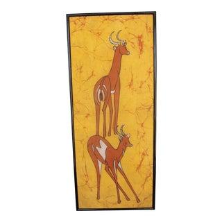 Framed Batik of Antelope Batique Africa, Signed
