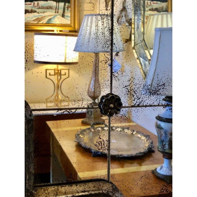 Silver Hollywood Regency Style Wall Mirror Silver Overlay Decorated Midcentury For Sale - Image 8 of 11