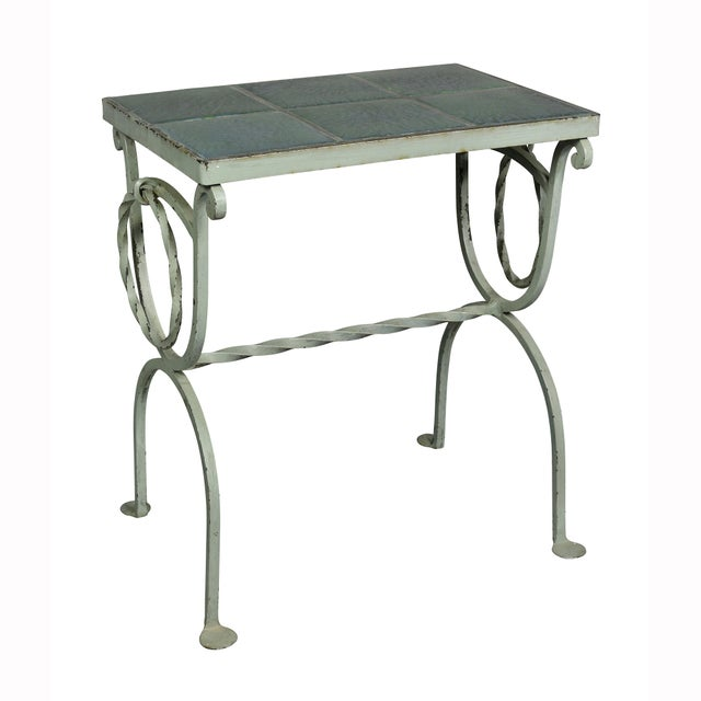 Arts & Crafts Wrought Iron and Tile Top Side Table For Sale - Image 9 of 9