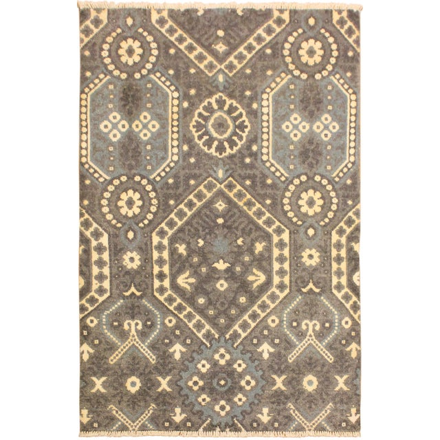 Gray Ezyln Modern Marcelle Gray/Ivory Wool & Viscouse Rug - 4'1 X 6'2 For Sale - Image 8 of 8