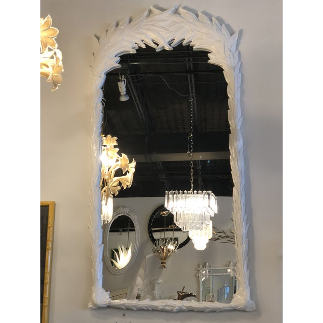 Vintage Hollywood Regency White Lacquered Leaf Wall Mirror For Sale - Image 11 of 11