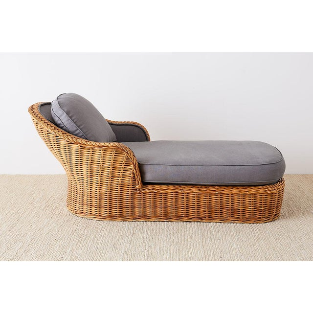 Michael Taylor Michael Taylor Style Wicker Chaise Lounge For Sale - Image 4 of 13