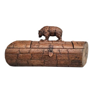 19th Century Black Forest Hand Carved Wooden Box - Bear on Log For Sale