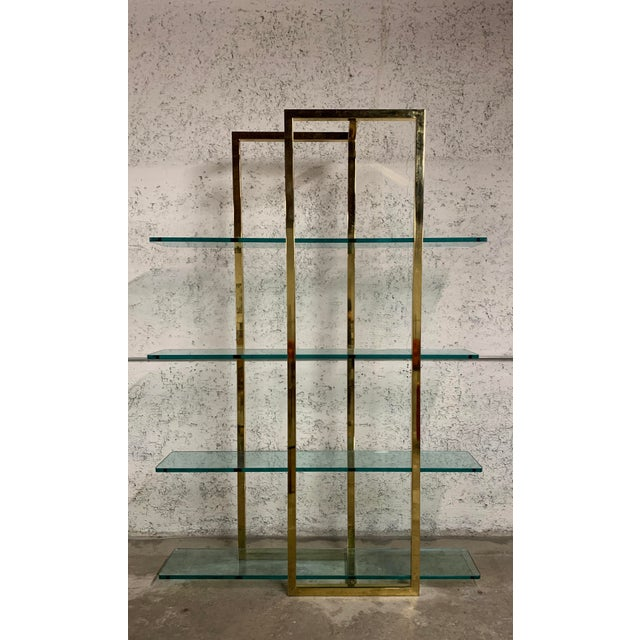Stunning Vintage Architectural Brass Etagere in the Manner of Milo Baughman For Sale In Los Angeles - Image 6 of 7