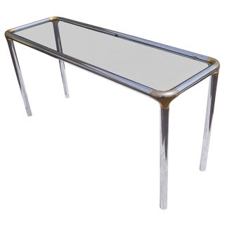 Maison Jansen Style Glass and Chrome Console Table For Sale