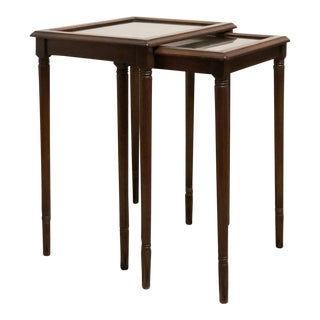 1940's Mahogany & Glass Nesting Tables - a Pair For Sale