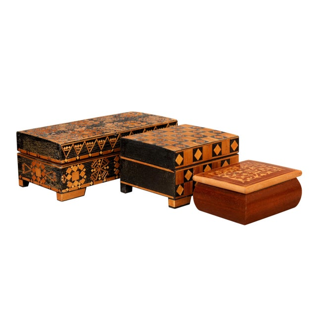 Asian Bohemian Inlaid Trinket Boxes, Set of 3 For Sale - Image 3 of 9