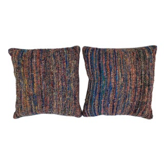 Fortuny Raw Silk Accent Pillows - A Pair For Sale