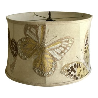 Anthropologie Embroidered Butterfly Lampshade For Sale