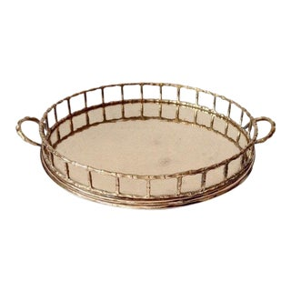 1980s Chinoiserie Round Brass Faux Bamboo Serving Tray
