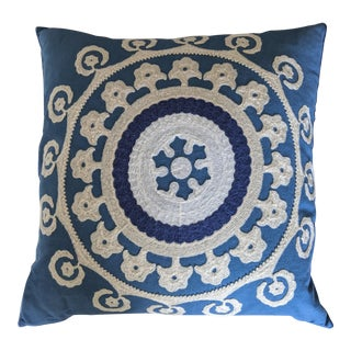 Crewel Embroidered Suzani Pillow For Sale