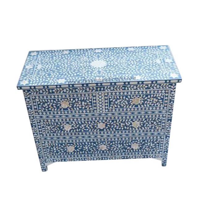 Mother of Pearl Inlay Blue Chest of Drawers - Image 1 of 4