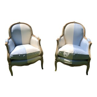 Louis XIV French Silk Bergére Chairs - a Pair For Sale