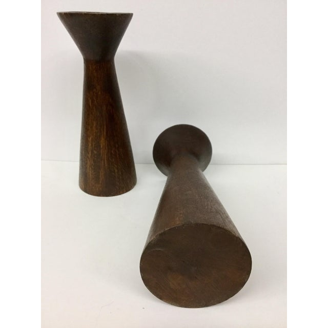 1950s Boho Chic Solid Wood Candle Holders - a Pair For Sale In Boston - Image 6 of 13