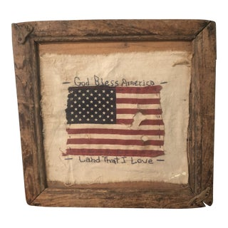 Rustic American Frame W/American Flag For Sale