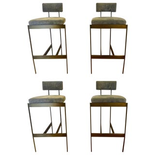 Set of Four Powell and Bonnell 'Alto' Suede Bar Stools