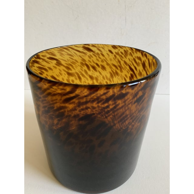2000 - 2009 Bloomingville Tortoise Shell Glass Vase/Ice Bucket For Sale - Image 5 of 7