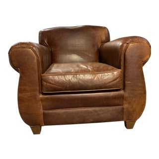 1990s Vintage Mitchell Gold Leather Club Chair For Sale