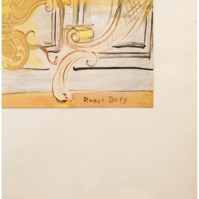 """French 1950s Raoul Dufy """"Yellow Console With a Violin"""" First Edition Lithograph For Sale - Image 3 of 9"""