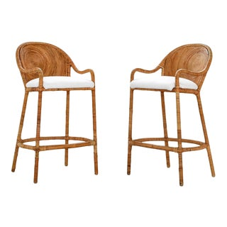 1970s Vintage Split Reed Sculptural Bar Stools- A Pair For Sale