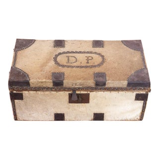Antique Cowhide Trunk with Initials DP For Sale