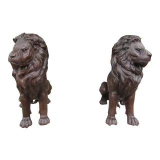 Bronze Lion Statues - a Pair For Sale