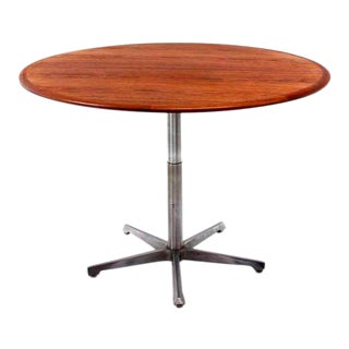 Hi Lo Convertible Coffee Dining Dinette Teak Table on 5 Point Star Base. For Sale