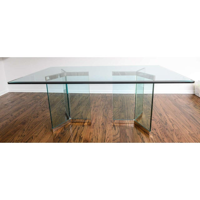 Transparent 1970s Leon Rosen for Pace Collection Chrome & Glass Rectangular Dining Table For Sale - Image 8 of 10