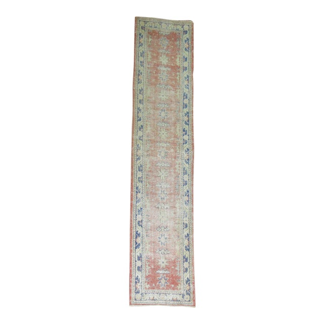 Distressed Turkish Oushak Runner Rug - 2'5'' x 10'9'' For Sale