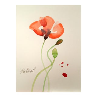 Poppy Pink Red, Original Watercolor For Sale