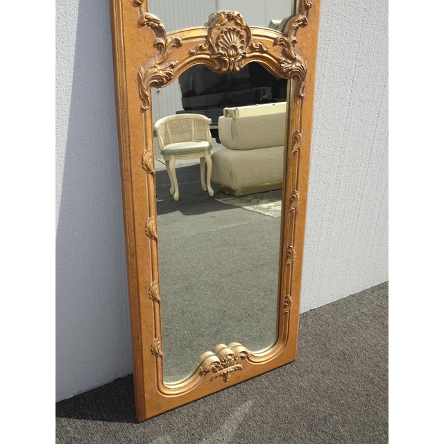 1950s Vintage French Provincial Gold Wall Mantle Mirror For Sale In Los Angeles - Image 6 of 13