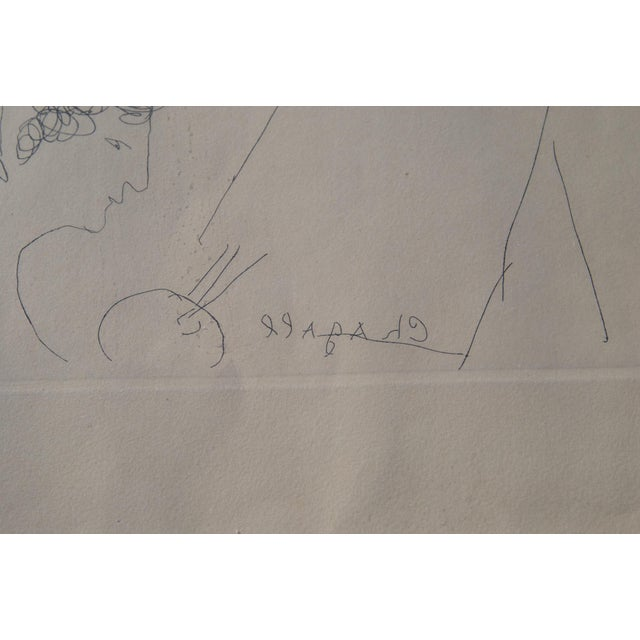 Mid 20th Century Mid 20th Century Engraving of Marc Chagall by Jacques Combet With Chagall Sketch For Sale - Image 5 of 9