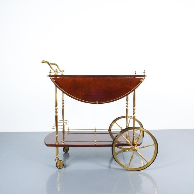 1960s Aldo Tura Adjustable Brown Parchment Brass Bar Cart, 1960 For Sale - Image 5 of 13