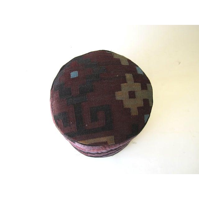 Vintage Purple/Black Turkish Kilim Stool - Image 3 of 3