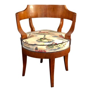 Vintage Baker Barrel-Back Swivel Chair in Mahogany
